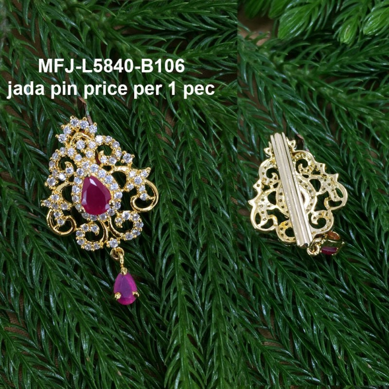 CZ &Ruby Stones With Perl Peacock Design Gold Plated Finish Nose Pin Buy Online
