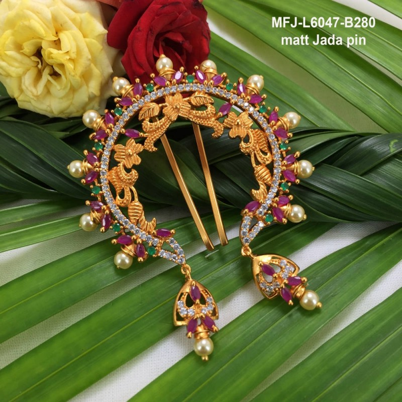 Ruby Stones With Perls Fish Design Gold Plated Finish Nose Pin Buy Online