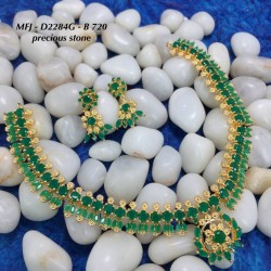 CZ, Ruby & Emerald Stones With Pearls Flowers & Leaves Design Gold Plated Finish Haram Set Buy Online