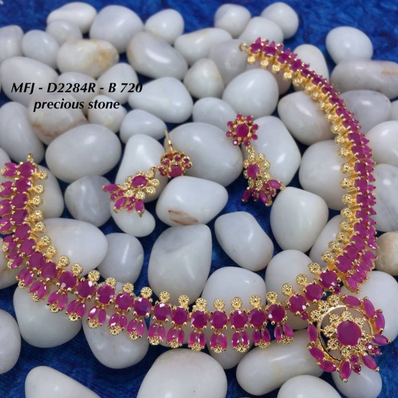 CZ, Ruby & Stones With Pearls Flowers & Leaves Design Gold Plated Finish Haram Set Buy Online