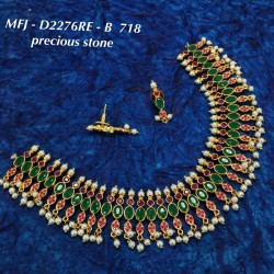 CZ, & Ruby & Emerald Stones Two Lines Flowers With Perls Star Design Gold Plated Finish Haram Set Buy Online
