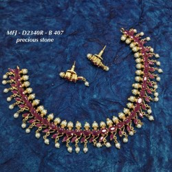 CZ & Ruby & Emerald Stones Star Leafs With Perls Design Gold Plated Finish Haram Set Buy Online
