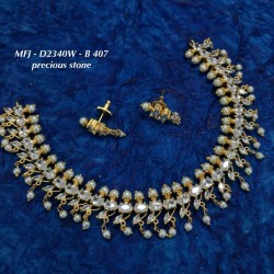 CZ & Ruby Stones Leafs With Peacock Perls Design Gold Plated Finish Haram Set Buy Online