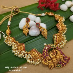 CZ & Ruby & Emerald Stones With Perls Flower Design Gold Plated Finish Vamki Buy Online