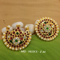 CZ & Ruby & Emerald Stones With Perl Peacock Design Gold Plated Finish Headset Buy Online
