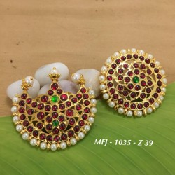 CZ & Ruby & Emerald Stones Flower Design Gold Plated Finish Headset Buy Online