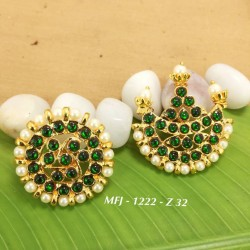 CZ & Ruby & Emerald Stones With Perl Crown Peacock With Leafs Design Gold Plated Finish Headset Buy Online