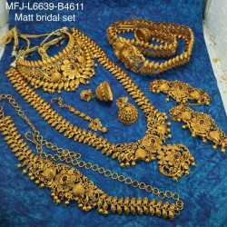 Red & White Stones Flowers Design Gold Colour Polished Combo Dance Set For Barathanatyam & Temple Buy Online