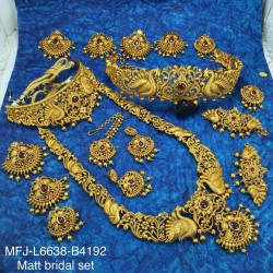 Kempu Stones Flowers Design Gold Colour Polished Combo Dance Set For Barathanatyam & Temple Buy Online
