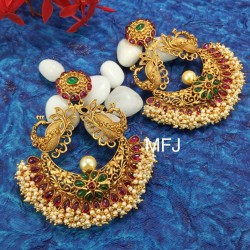 CZ,Ruby & Emerald Stones With Perls Flower Design Gold Plated Finish Necklace Buy Online