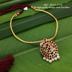 CZ,Ruby & Emerald Stones With Pearls Flower Design Gold Plated Finish Jumki Buy Online
