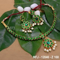 CZ, Ruby & Emerald Stones Flowers & Leaves Design Mat Finish Headset Buy Online