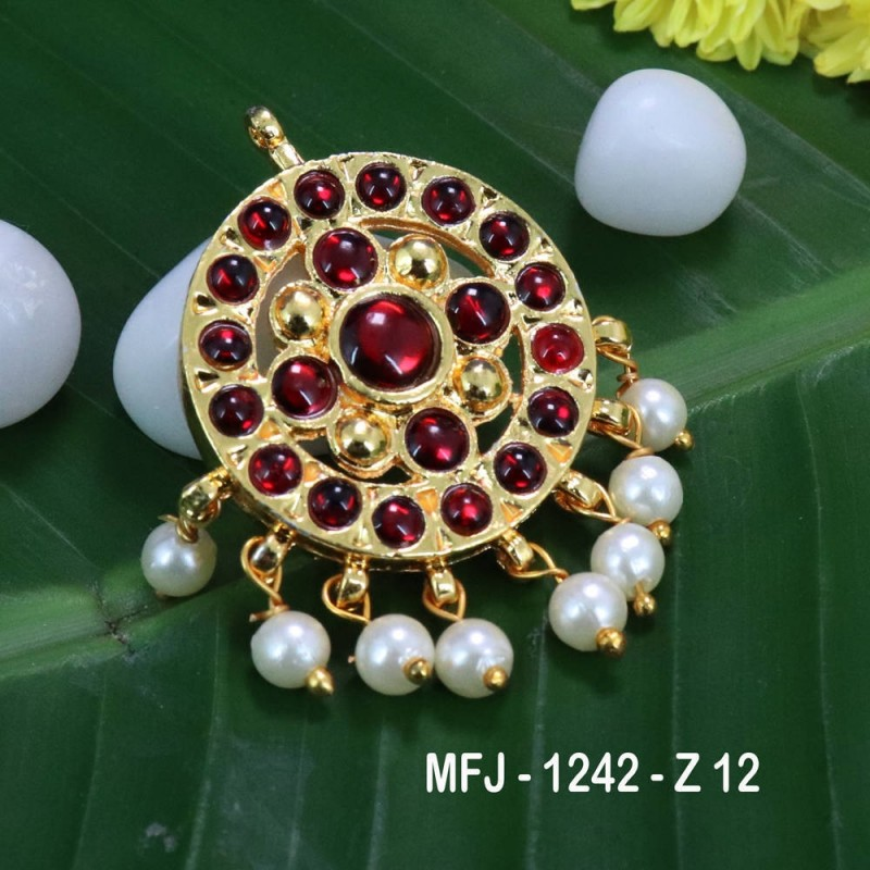 Red & Green Colour Stones Peacock & Flowers Design Gold Plated Finish Jumki Buy Online