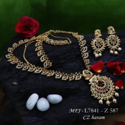 CZ & Ruby Stones Flowers & Jumki Design Mat Finish Headset Buy Online