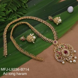 CZ, Ruby & Emerald Stones Peacock, Flowers & Leaves Design With Pearls Drops Gold Plated Finish Choker Necklace Set Buy Online