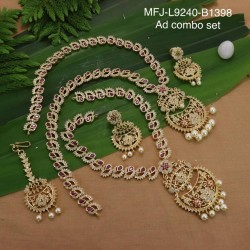 Ruby Stones Peacock & Flowers Design With Balls Drops Mat Finish Choker Necklace Set Buy Online