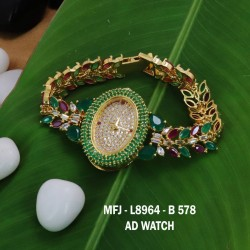 CZ, Ruby & Emerald Stones Thilakam, Flowers & Leaves Design With Pearls Drops Gold Plated Finish Choker Necklace Set Buy Online