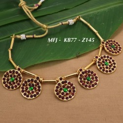 CZ & Ruby Stones With Pearls Peacock & Two Line Design Mat Finish Haram Set Buy Online