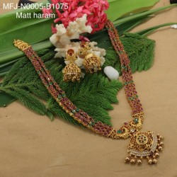 Ruby & Emerald Stones Peacock & Flowers Design Mat Finish Combo Bridal Set Buy Online