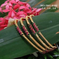 CZ, Ruby & Emerald Stones Flowers & Leaves Design With Pearls Drops Gold Plated Finish Choker Necklace Set Buy Online