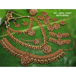 Ruby Stones Lakshmi Design Mat Finish Pendant Set With Black Beads Chain Buy Online