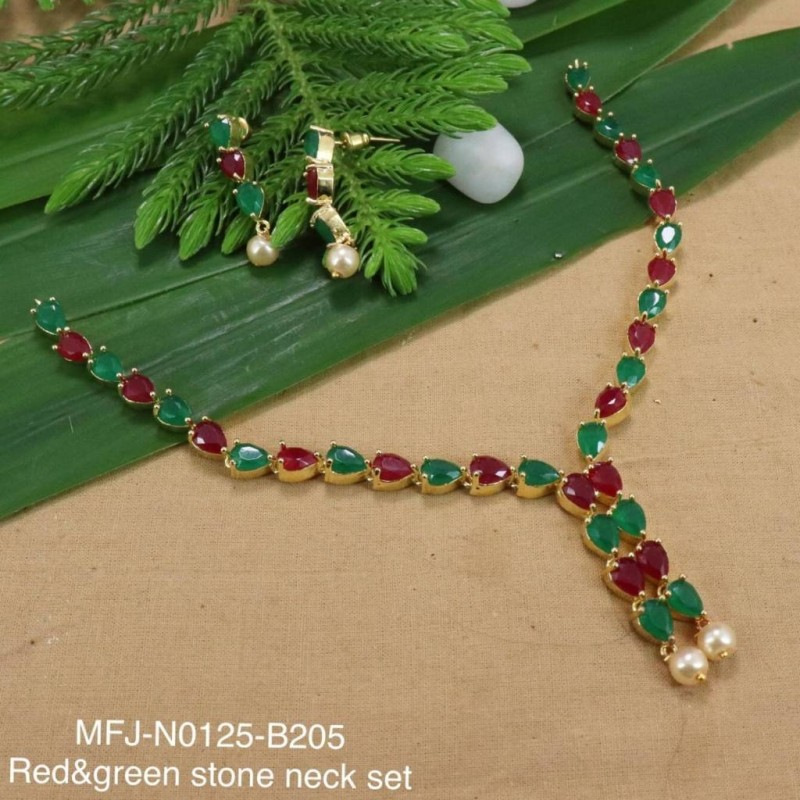 CZ, Ruby & Emerald Stones Flowers & Leaves Design With Pearl Drop Mat Finish Necklace Set Buy Online