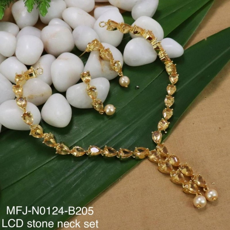 CZ, Ruby & Emerald Stones Mango & Flowers Design With Pearl Drop Mat Finish Necklace Set Buy Online