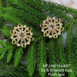 CZ, Ruby & Emerald Stones Flowers & Leaves Design With Pearls Gold Plated Finish Haram Set Buy Online