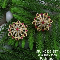CZ & Ruby Stones Peacock ,Flowers & Leaves Design With Pearls Gold Plated Finish Haram Set Buy Online
