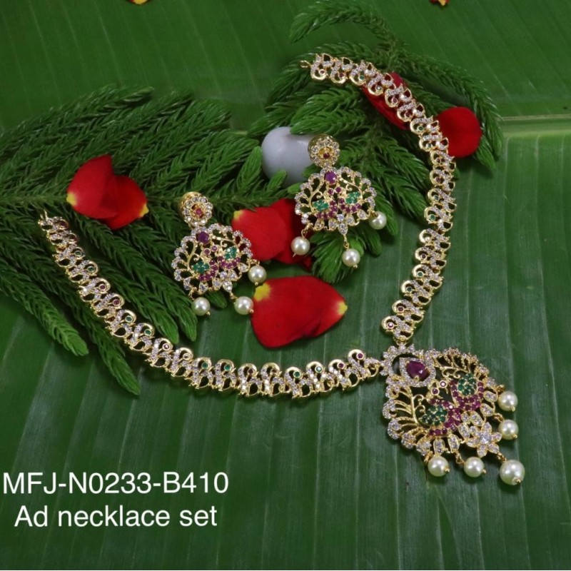 Ruby Stones Peacock & Flowers Design With Pearls Mat Finish Hair Pin Buy Online