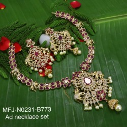 Ruby & Emerald Stones Peacock & Flowers Design With Pearls Mat Finish Hair Pin Buy Online