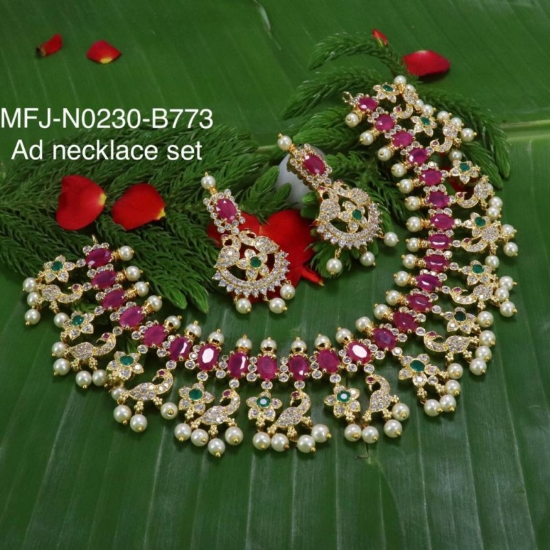 Ruby Stones Flowers & Peacock Design With Pearls Mat Finish Hair Pin Buy Online