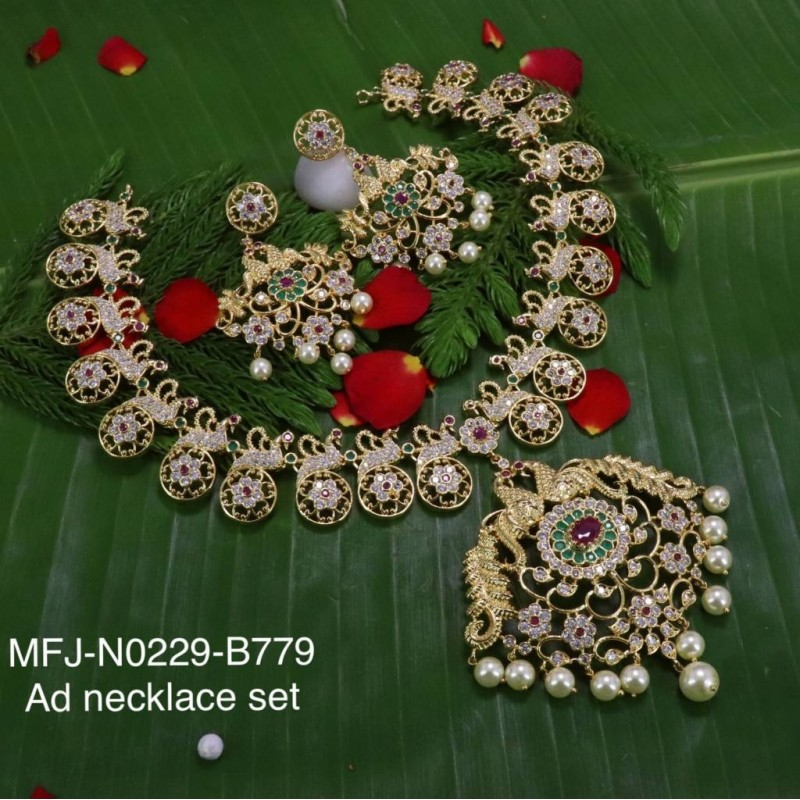 Ruby Stones Flowers & Leaves Design With Pearls Mat Finish Hair Pin Buy Online