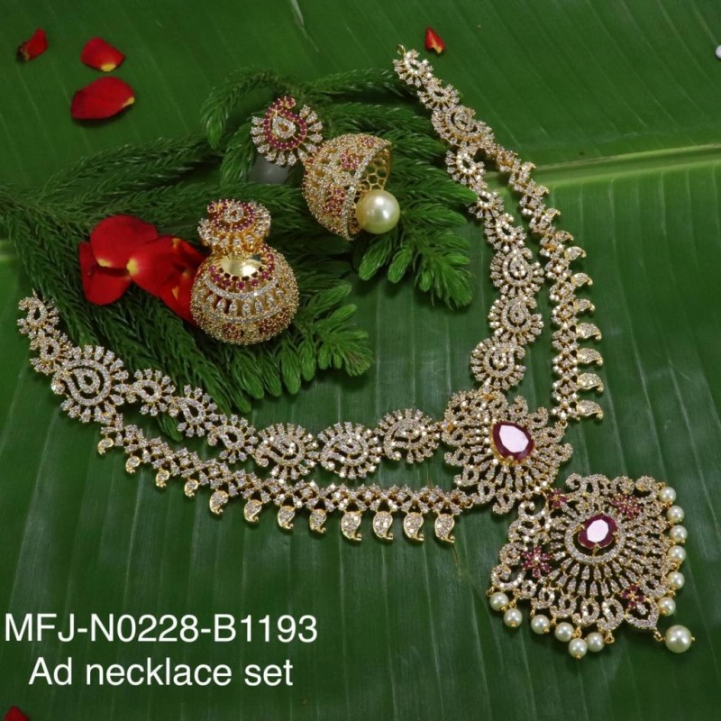 Ruby & Emerald Stones Flowers & Leaves Design With Pearls Mat Finish Hair Pin Buy Online