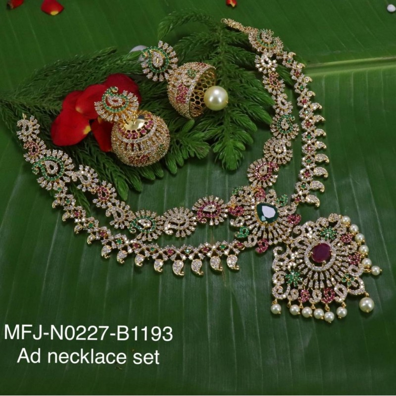 Ruby & Emerald Stones Peacock, Flowers & Leaves Design With Pearls Mat Finish Hair Pin Buy Online