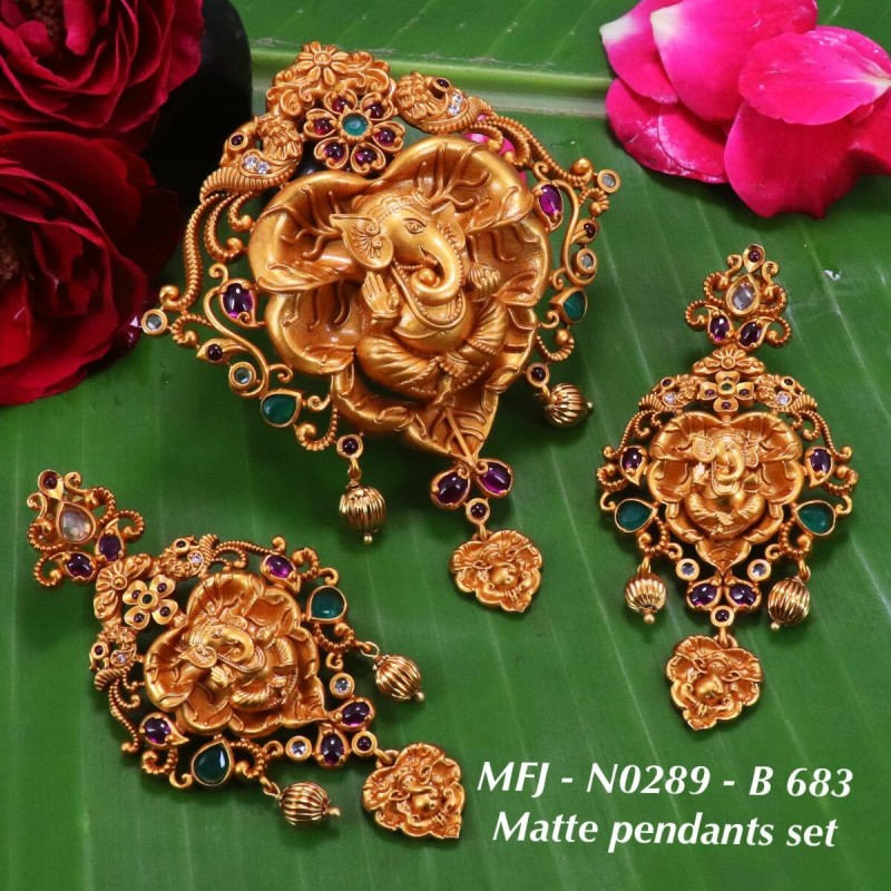 CZ & Ruby Stones Flowers & Leaves Design With Ball Drop Mat Finish Necklace Set Buy Online