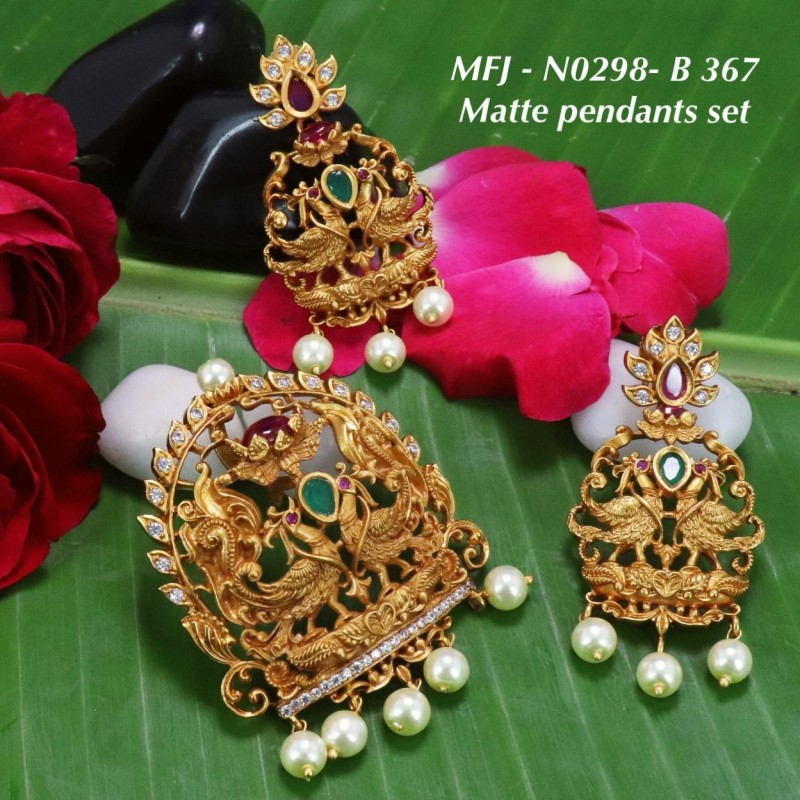 CZ & Ruby Stones Peacock, Lakshmi & Leaves Design With Pearls Drops Mat Finish Necklace Set Buy Online