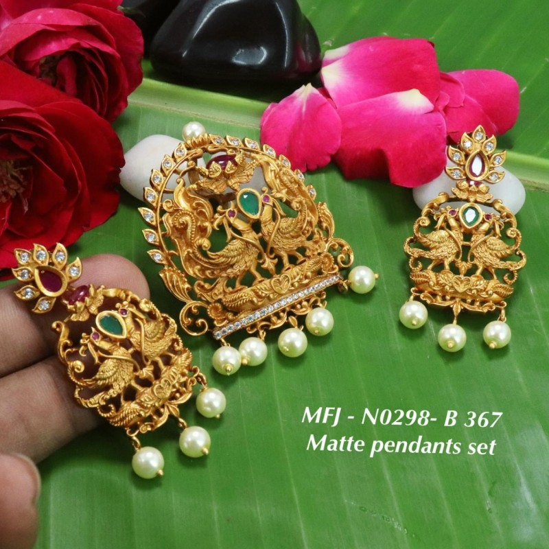 CZ, Ruby & Emerald Stones, Mango & Flowers Design With Pearls Drops Mat Finish Necklace Set Buy Online