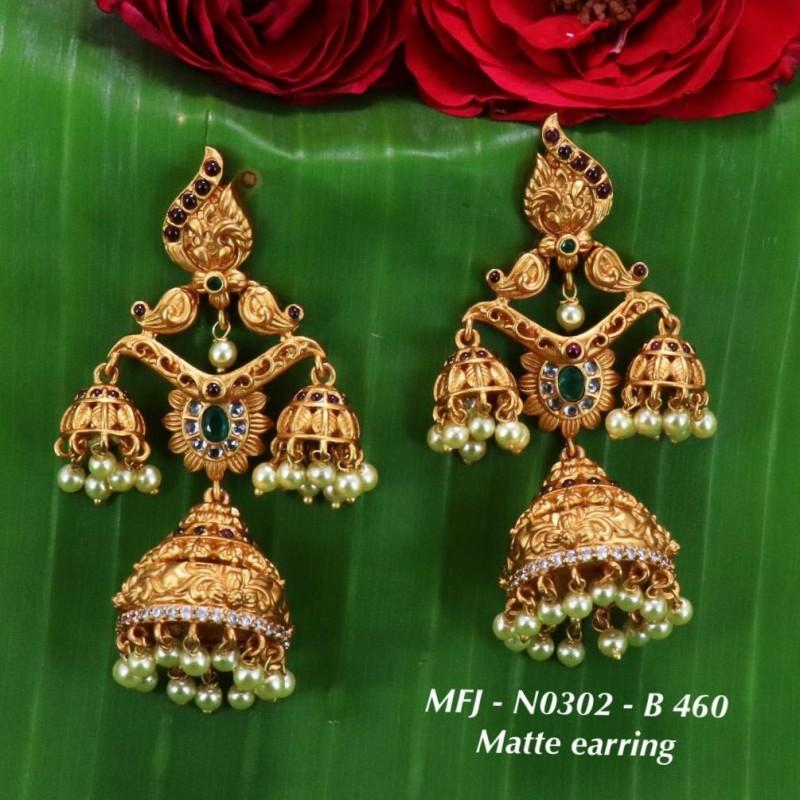 CZ, Ruby & Emerald Stones Mango & Peacock Design With Pearls Drops Mat Balls Finish 3 Lines Haram Set Buy Online