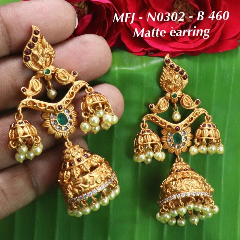 Cz & Ruby Stones Mango & Peacock Design With Pearls Mat Finish 3 Lines Haram Set Buy Online