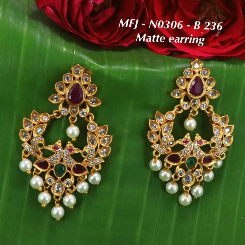 Ruby & Emerald Stones Peacock, Flowers & Leaves Design With Ball Drop Mat Finish Haram Set Buy Online