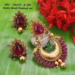 CZ & Ruby Stones Flowers, Leaves & Thilakam Design Gold Plated Finish Necklace Set Buy Online