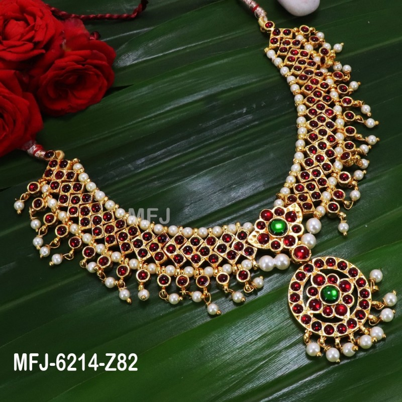 7be30a22f8 Ruby & Emerald Stones Flowers & Leaves Design With Balls Drops Mat Finish  Jumki Buy Online