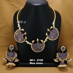 Ruby & Emerald Stones With Pearls Lakshmi & Peacock Design Mat Finish Combo Bridal Set Buy Online