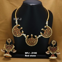 Ruby & Emerald Stones Lakshmi & Peacock Design Mat Finish Combo Bridal Set Buy Online