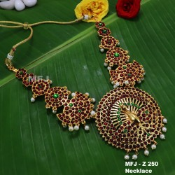 CZ, Ruby & Emerald Stones Flowers & Peacock Design Mat Finish Combo Bridal Set Buy Online