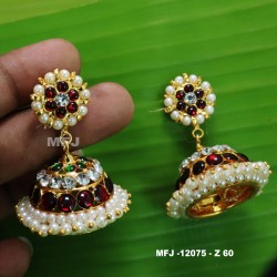 Ruby & Emerald Stones Designer With Pearl Gold Plated Finish Earrings Buy Online