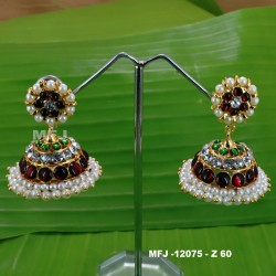 CZ & Ruby Stones Designer With Pearl Gold Plated Finish Earrings Buy Online