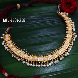 CZ & Ruby Stones Flowers & Jumki Design With Pearls Gold Plated Finish Pendant Set Buy Online