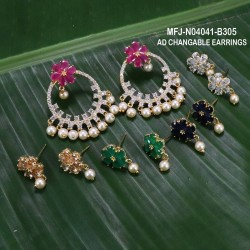 CZ, Ruby & Emerald Stones Flowers Design With Pearls Gold Plated Finish 3 Lines Mattel Set Buy Online